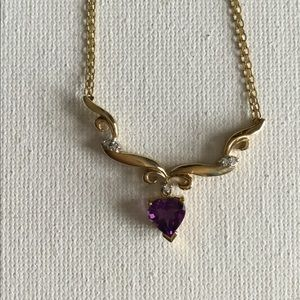 10k Amethyst Heart Necklace